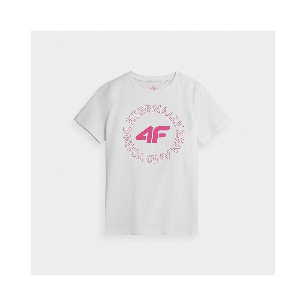 Koszulka Dziewczęca 4F JTSD002A HJZ21 Biała