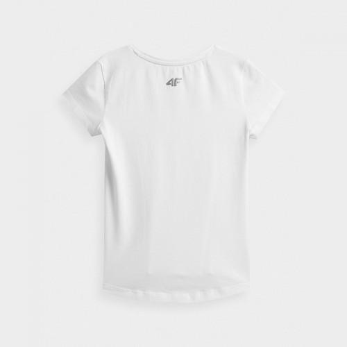 Koszulka Dziewczęca 4F JTSD001 HJZ21 Biała