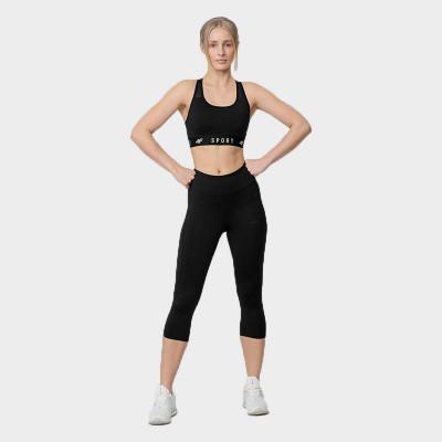 Spodnie Damskie Fitness 3/4 4F SPDF350 NOSH4 Czarne